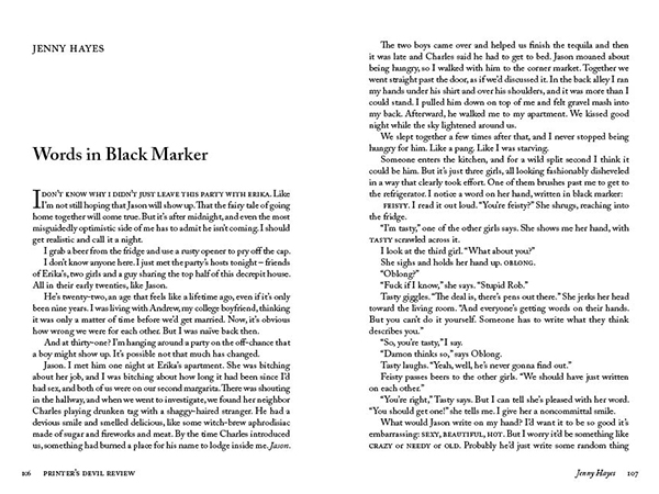 Words in Black Marker by Jenny Hayes